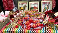 Vintage Circus Birthday - love the idea of serving cracker jacks and animal crackers! #partyfood