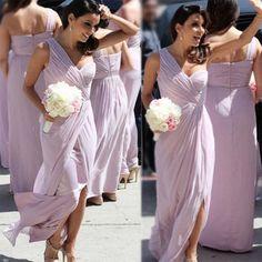 7053d8a6c Barato Un Hombro Luz Púrpura Lila Vestidos de dama de Honor Largo Plisado  Tulle Vestido de Dama de honor Vestidos de Hendidura Boda B102