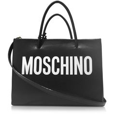 Moschino Designer Handbags Black and White Signature Leather E/W Tote ($940) ❤ liked on Polyvore featuring bags, handbags, tote bags, leather tote purse, genuine leather handbags, leather totes, tote purses and leather handbag tote