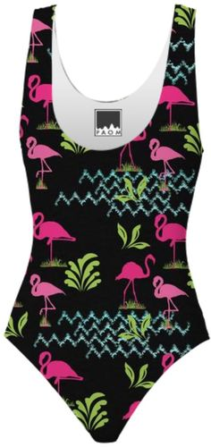 A fabulous flattering black swimsuit with exotic pink flamingo birds wading in aqua blue water. A fun choice for your summer holidays or just a splash in your local pool.