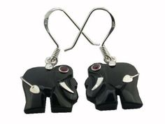 Onyx Lucky Elephant Earrings 925 Sterling Silver *** Check out this great product.