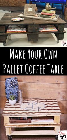 DIY pallet coffee table you can paint or stain. See the step by step instruction and video tutorial!