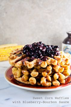 Sweet Corn Waffles with Blueberry-Bourbon Sauce