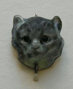 Meyle and Mayer attrib. Enameled Cat Silver Brooch