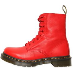 DR.MARTENS 30mm Core Pascal Soft Leather Boots ($227) ❤ liked on Polyvore featuring shoes, boots, red, dr martens boots, red low heel shoes, rubber sole boots, low heel shoes and low heel boots