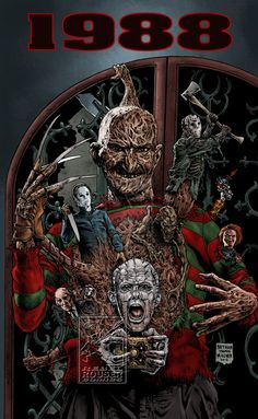 1988 horror film mash-up fan art Horror Movie Characters, Horror Movies, Culture Pop, Geek Culture, Horror Artwork, Arte Obscura, Horror Monsters, Horror Icons, Arte Horror