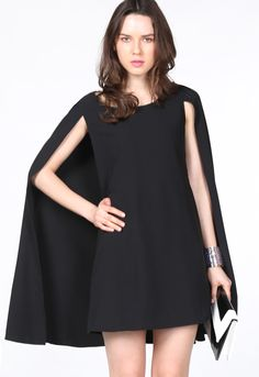 Shop Black Round Neck Cape Chiffon Dress $28.83