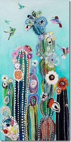 Eureka - Hummingbirds & Cacti Painting by Starla Michelle Halfmann