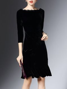 b22e84a904d Stylewe Plus Size Midi Dress Flounce Cocktail Dress Sleeve Velvet Ruffled  Solid Dress