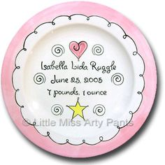 Little Miss Arty Pants - Personalized Gifts -  Sweet Baby - Girl Design - Birth Announcement Plate - www.LittleMissArtyPants.com