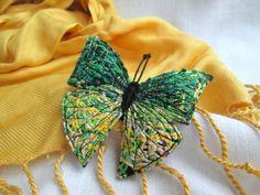 Fiber Brooch Green Yellow Butterfly. Fiber Art Pin. Felt brooch. Machine Embroidered .Butterfly Brooch. Fabric butterfly. Textile Jewelry.