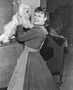 June Allyson with dog on set of Little Women 1949
