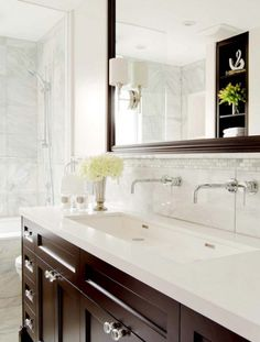 wall mounted faucets + undermount trough sinks