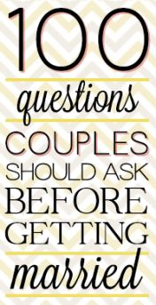 100 Questions Couple Should Ask Before Getting Married Wow. These are some in depth questions, but I think going through ALL of them is necessary before marriage. Are you sure of the decision you are makinng? Before Wedding, Wedding Tips, Our Wedding, Dream Wedding, Wedding Quotes, Xbox Wedding, Wedding Stuff, Camo Wedding, Lesbian Wedding
