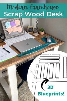 Easy scrap wood project to make a rustic computer desk using DIY desk plans. Our DIY wood desk is beginner friendly, affordable, and sturdy. Check out our free plans to simplify your project! #woodworking #diydesk #rusticdesk #farmhousefurniture #diywoodprojects #modernfarmhouse