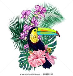 Toucan, exotic bird, tropical flowers, palm leaves, hibiscus, orchid, pink lotus, jungle. Beautiful vector floral illustration isolated on white background, exotic print, paradise