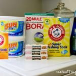 Home Made Laundry Soap  3 Tablespoons Borax  3 Tablespoons Washing Soda  2 Tablespoons Dawn Dish soap  Put in one gallon container.  Pour in 4 cups hot water.  Mix til ingredients dissolve.  Add cold water to the top.  Use about 1 cup per load.  Around 17 cents per load.