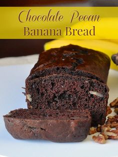 Double Chocolate Pecan Banana Bread ups the flavour ante with chocolate chips and crunchy pecans in a version of the classic loaf cake that everyone loves. One of the best uses for those over ripe bananas.