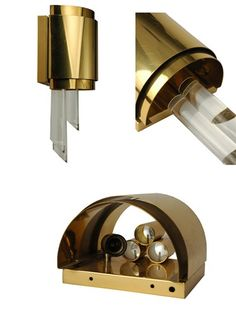Vintage French 1970s Modern Glamour Brass & Lucite Wall Lamps