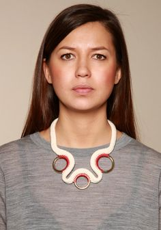 Eleanor Bolton - Stitched Three Ring Necklace - Natural/Red http://www.eleanorbolton.com/