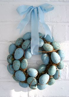 And please don't forget the front door as a wreath is not just for Christmas. I absolutely love this wreath and I can tell you from experience that if you have a wreath base, some moss, the eggs, some ribbon for hanging it and a hot glue gun you are able to make it all yourself. Have fun with decorating your home this Easter, decide on a palette and get creative. It's a lovely time of year.