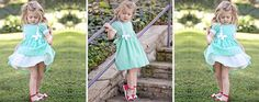 Runaway Pony vintage inspired full skirt dress for girls. Pecan Puff in green gingham. Bows and laces.