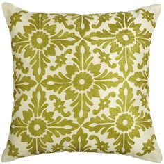 A symmetrical floral motif makes this pillow fresh and trendy