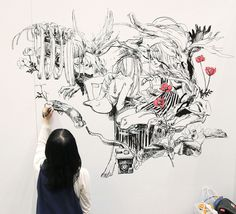 Gorgeous black, white and red illustration ゴージャスな白黒赤のイラスト Design Festa