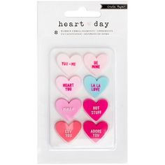This is a package of rubber heart embellishments by Crate Paper from their Heart Day line. Includes: 8 rubber hearts in an adorable Valentine's day candy design. Crate Paper, Artist Supplies, Craft Supplies, Heart Day, Scrapbook Embellishments, Valentine Day Crafts, American Crafts, Diy Scrapbook, Love
