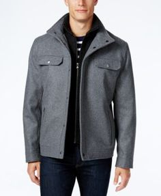 66c7c6cab9e0 Michael Kors Michael Kors Men s Wool-Blend Layered Military Coat Men -  Coats   Jackets - Macy s