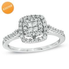 I've tagged a product on Zales: 1/2 CT. T.W. Princess-Cut Quad Diamond Frame Ring in 10K White Gold