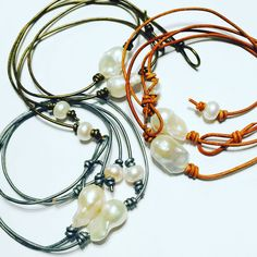Baroque Pearl leather chokers