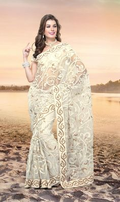 $161 Cream Net Embroidery Party Wear Saree 23069