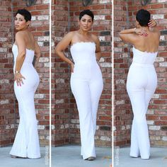 2017 New Arrival Jumpsuit Wedding Pants for Brides Full Lace Strapless Sleeveless Open Back Wedding Pant Suit Custom Made Side Zipper Wear Wedding Pants, Wedding Jumpsuit, Lace Jumpsuit, White Jumpsuit, Wedding Dresses, White Pants, Bodycon Jumpsuit, Gown Wedding, Wedding Shoes