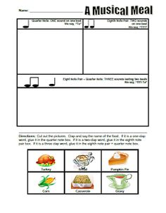 thanksgiving food rhythms worksheet