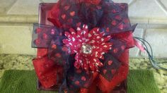 Valentine Ribbon Lighted Glass Block by thooker on Etsy, $32.00