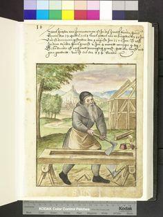 1570 Carpenter building a house, with axe, adze, drill, saw horses  Die Hausbücher der Nürnberger Zwölfbrüderstiftungen