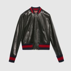 GUCCI Embroidered leather bomber jacket $ 4,200