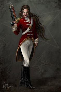 Sci-Fi Fantasy LE character Art print Giclee Steam Punk woman military Lt. Kilos. $19.99, via Etsy.
