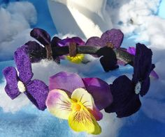 Purple Pansy flower headband, adult headband woman, pansy flowers, flower headpiece, flower crown, floral headband, fairy headband, boho
