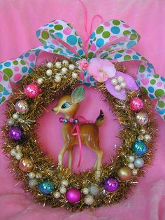 The bright colors on this wreath would be nice for a child's room.