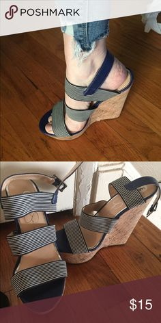 """Jessica Simpson Heels 6 1/2 NWT Navy and white striped canvas straps. Cork Heels 6"""" NWT size 6 1/2 Jessica Simpson Shoes Platforms"""