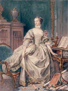 Маркиза де Помпадур, самая известная фаворитка Людовика XV, изображена на портрете Франсуа Буше (ок. 1750) на фоне клавесина с резными ножками кабриоль и типичного для эпохи рококо кресла бержер