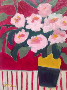 """Annie O'Brien Gonzales-Contemporary Abstract Still Life Flower Art Painting """"PINK PEONIES, PINK ROOM"""" by Santa Fe Artist Annie O'Brien Gonzales-http://annieobriengonzalespaintings.blogspot.com/2015/02/contemporary-abstract-still-life-flower_12.html"""