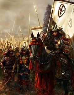 Japanese Samurais in battle