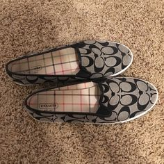 Coach Signature Print Slip-Ons Like new genuine Coach slip-on flats. These have hardly been worn and in great condition. Feel free to contact me with any questions! Coach Shoes Flats & Loafers