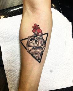 Broken heart robot tattoo