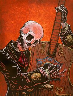 Day of the Dead Art by David Lozeau, El Guitarrista, Dia de los Muertos Art - 1