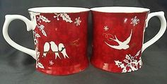 2 Red Starbucks Mugs Cups by Rosanna 2010 Birds Snowflakes Holly Gold Trim