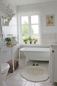 White Bathroom Design Ideas - Shabby Chic - VIBEKE DESIGN